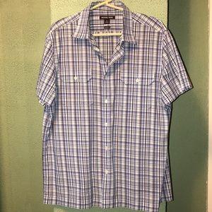 Michael Kors Men's Plaid Short Sleeve Shirt XL